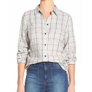 Madewell Gray and Red Plaid Flannel Shirt - XS